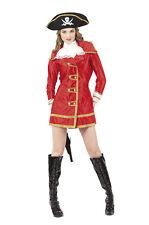 Gr M Piratin GRACE Kapitän Kostüm Pirat Damen Karneval Piratenbraut rot 87373