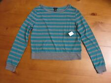 NWT Live Love Dream Junior's Sweater, long sleeve, striped(grey/teal mesh), M