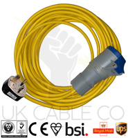 CARAVAN MOTORHOME 15M ELECTRIC HOOK UP CONVERTER 13A to 16A YELLOW ARCTIC CABLE