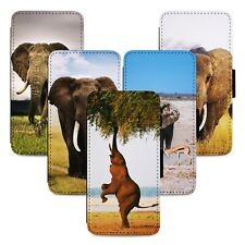 Wild Elephant Animals Flip Phone Case Cover Wallet - Fits Iphone 5 6 7 8 X 11