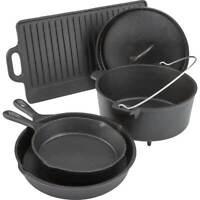 Pre Seasoned 5 Piece Cookware Set Cast Iron Dutch Skillets Pans Griddle Oven