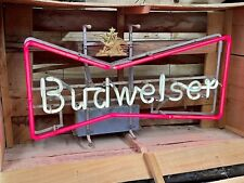 Vtg 1950s Antique Budweiser Beer Neon Bowtie Advertising Sign In Original Crate