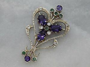 Antique Style Solid 9ct Yellow Gold Heart Shape Pendant Amethyst Emerald Diamond