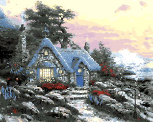 Paint By Numbers Kit Canvas 50*40cm 8023 Little Cottage in Xmas AU Shipping