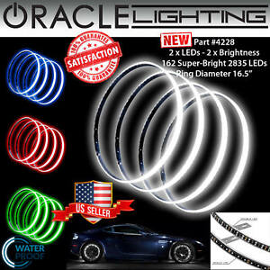 "ORACLE Illuminated Rim 16.5"" *DOUBLE* LED WHITE Wheel Rings - Waterproof - 4228"