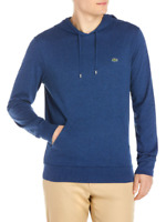 Lacoste Men's Anchor Chine Blue Cotton Jersey Long Sleeve Pullover Hooded TShirt