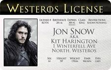 JON SNOW Game of Thrones Kit Harington novelty collectors card Drivers License