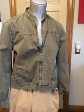 Lucky Brand Olive Zip Front Fitted Jean Jacket Women's Size Medium EUC