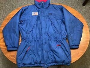 MENS VINTAGE USED 90'S 1996 PATAGONIA BLUE ZIP UP HOODED PARKA JACKET SIZE XL