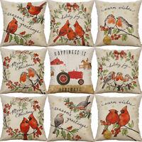 Fashion Bird Printing Cotton linen Pillow Case Sofa Home Decor  Cushion Cover