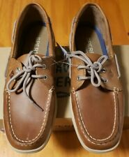Men's Sperry Top-Sider Billfish 3-Eye Boat Shoes Dark Tan Leather  SIZE 10 NIB