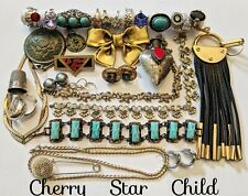 Huge lot mixed costume vintage jewelry earring necklace rings bracelets destash