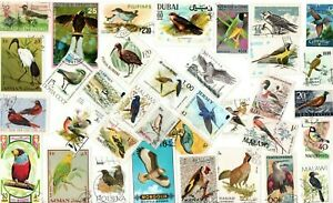 A LOVELY MIX OF 35 DIFFERENT G/FU COMMEMORATIVE STAMPS DEPICTING BIRDS