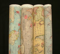 Atlas World Globe Map Cotton Linen Fabric Curtain Blinds Craft Quilting 4 COLOUR