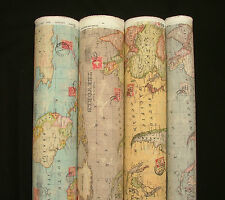 Atlas World Globe Map Cotton Linen Fabric Curtain Blinds Craft Quilting 4 COLOUR