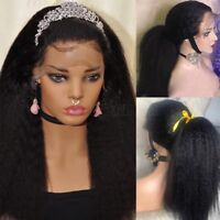 New Yaki Kinky Straight Full Wig Brazilian Human Hair Lace Front Wig Pre Plucked