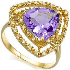 LOVELY 3.03 CTW GENUINE DIAMOND & AMETHYST IN 925 STERLING SILVER RING