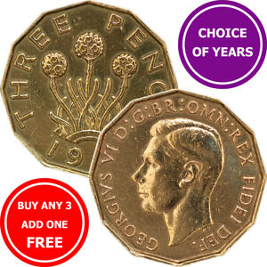 Brass Threepence : 1937-1952 : George VI : 3d Coin : Choose Year