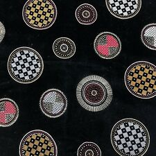 VTG 80s 1990s Fabric Black Faux Velvet Flock Metallic Geometric Fabric Material