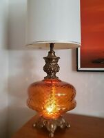 Vtg Mid Century Modern Hollywood Regency Optical Amber Glass & Brass Lamp *33""