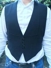 Vintage bespoke 60's black tie waistcoat 38S