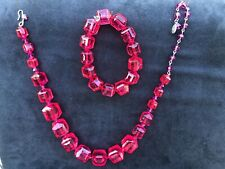 New ListingTarina Tarantino Bright Pink Lucite Cubes Choker Necklace Swarovski Crystals