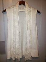 Gap Duster Sleeveless CardiganSweater Womens XL Crochet Knit Ivory