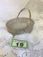"""Small Ornate Silver Plated Salt Cellar/ Small Dish Frosted Glass Lining 4.25"""" W"""