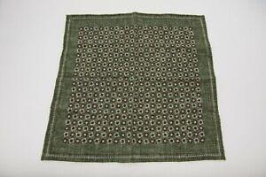 NWT Brunello Cucinelli Men's 100% Silk 2-Tone Geometric Print Pocket Square A201