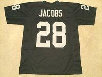 UNSIGNED CUSTOM Sewn Stitched Josh Jacobs Black Jersey - M, L, XL, 2XL