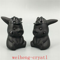 Natural obsidian Pikachu model quartz Carved crystal skull Reiki healing 1pc