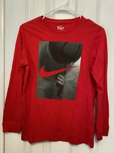 Nike Youth Boys Long Sleeve Tee Shirt Red Size L With Bassketball Image