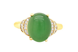 Emerald & Cubic Zirconia Halo Ring In 14K Yellow Gold Over Silver Sz 8