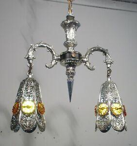 Antique Vintage 2 Light Mid Century Pendant Light Fixture Lamp Filigree Silver