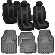 Charcoal Gray Sport Seat Covers Set w/ Heavy Duty Carbon Vinyl Floor Mats Set