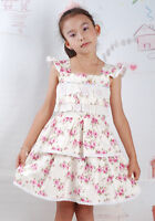 New Girls Flower Girl Party Pageant Cotton Dress Cream Pink Lilac 12-18 to 3-4