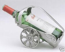 Pewter Wine Bottle Holder, Wheel Motif Pewter Wine Bottle Holder, Bottle Caddy