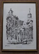 GEOFFREY SCOWCROFT FLETCHER -  THE TOWER OF LONDON  - SIGNED FRAMED PRINT.