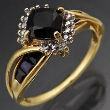 Flying Cross-Over 9k Solid Yellow GOLD SAPPHIRE & DIAMOND CLUSTER RING Sz O