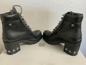 NEW IN BOX Miu Miu Prada Leather Combat Boots Crystal Women's 7 /37 Fashion Shoe
