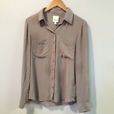 ANTHROPOLOGIE Nom De Plume Yaya Sheer Button Down Blouse Taupe Top SZ M
