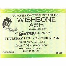 WISHBONE ASH Concert Ticket Stub GLASGOW UK 11/14/96 THE GARAGE PILGRIMAGE ARGUS
