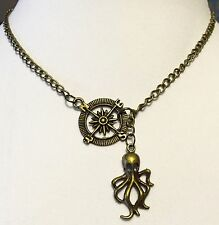 Octopus and Mariner Compass Lariat Necklace handmade USA 952