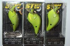 3 lures megabass stw s-crank 1.5 1/2oz black chartreuse crankbait squarebill