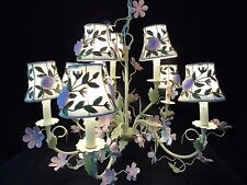 Painted Tole Floral Chandelier Country Chic Embroidered Tulle Shades Shabby Eleg