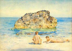 Henry Scott Tuke  The sunbathers    Wall  Art  Canvas