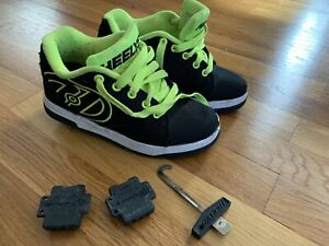 Heelys Propel 2.0 Youth Size 2 Skate Shoes Black Yellow/green