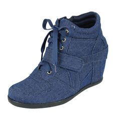 High Top Lace Up Hook Loop Hidden Wedge Heel Fashion Sneaker Shoes Ankle Booties