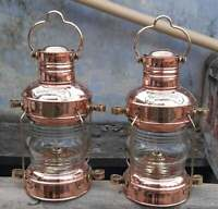 Copper Brass Anchor Oil Lamp Nautical Maritime Ship Lantern Boat Light Set of 2