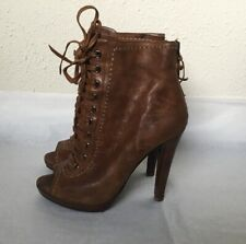 Miu Miu Lace Up Bootie Peep Toe Boots Cognac Brown Leather 36 6 High Heel Italy